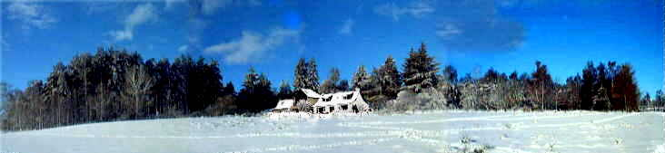 The studio in Winter taken from our lower field